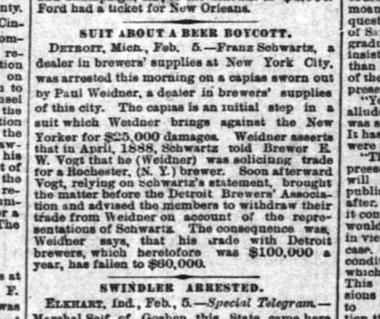 Paul Weidner. brewer supplies. suit about a beer boycott. - Cin 1 on to the the hia of the resides a The '...