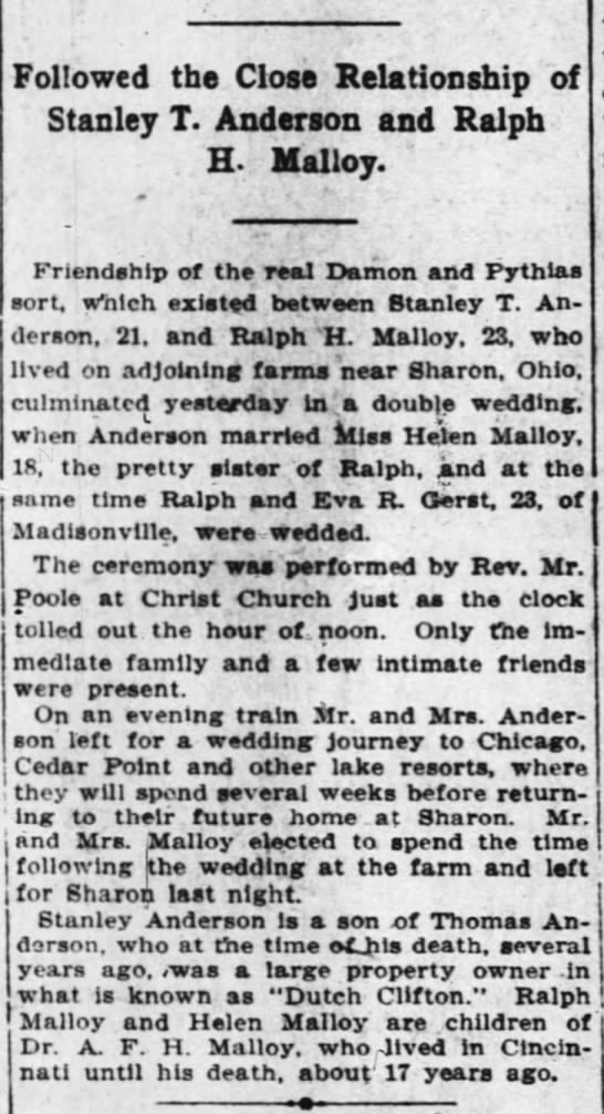 """""""Double Wedding,"""" Cincinnati Enquirer, 2 Aug 1908 - Followed the Close Relationship of Stanley T...."""