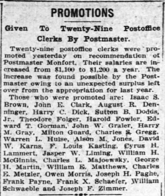 Charles Postmaster Promotion 1912 - PROMOTIONS Given To Twenty-Xine Twenty-Xine...