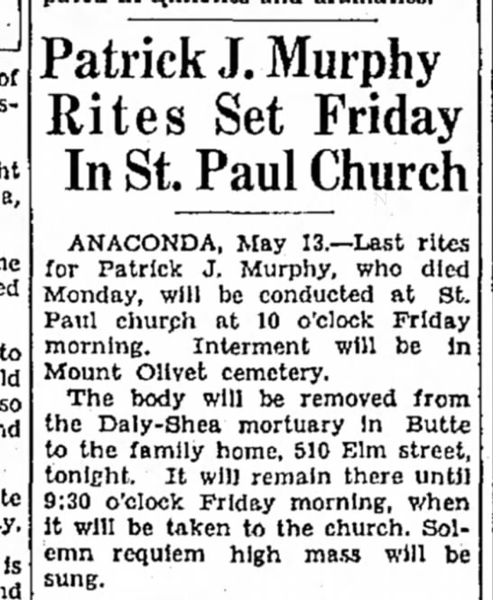 - Patrick J. Murphy Rites Set Friday In St. Paul...