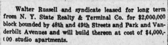 The Wall Street Journal (New York, New York) 3 January 1920  Page 6 - I Walter Russell and syndicate leased for long...