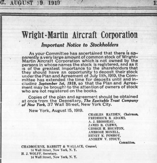 Frederick B. Adams_Wright-Martin_Aug 1919 - AUGUST 39, 1919 11 Wright-Martin Wright-Martin...