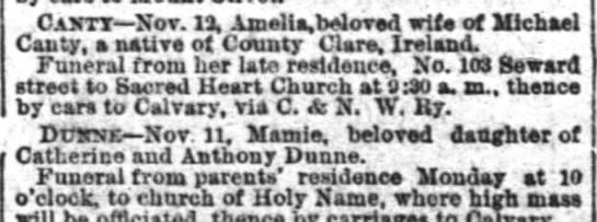 - . Cajttt Not. 13, Amelia, da orad wife of...