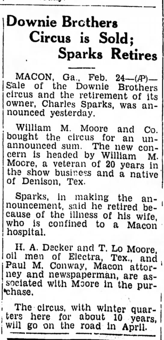 Sparks Sale 2-24-1939 - Downie Brothers Circus is Sold; Sparks Retires...