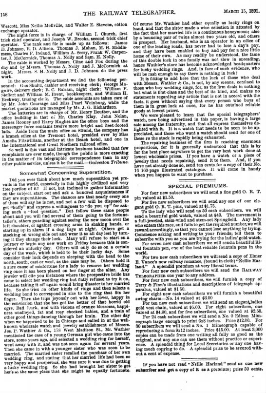 Joseph P. Wathier Jewelers in superstition article - 158 THE RAILWAY TELEGRAPHER. MARCH 15, 1891....