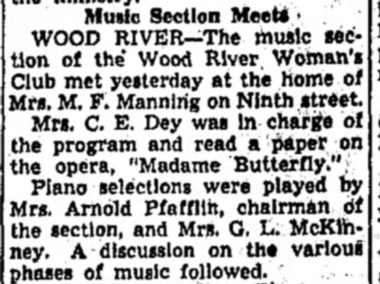 Mrs M F Manning - Music Section Meets > WOOD RIVER—The music...