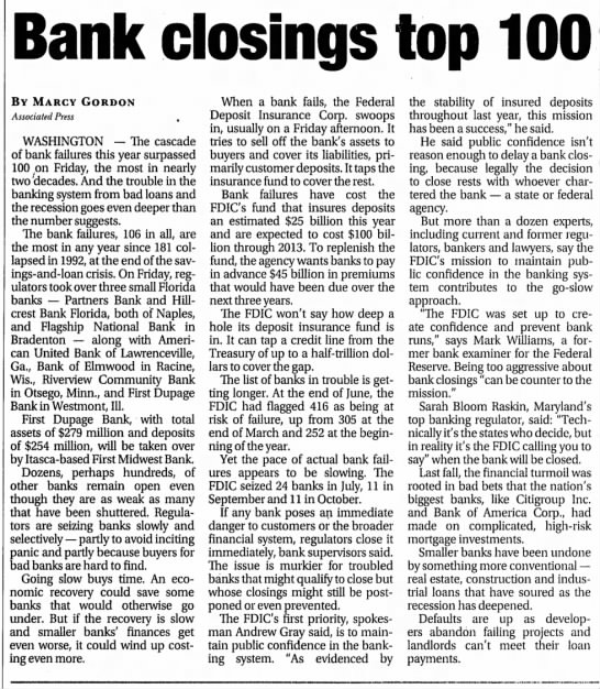 - Bank closings top 100 BY MARCV GORDON...