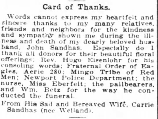 - Card of Thanks. Words cannot express my...