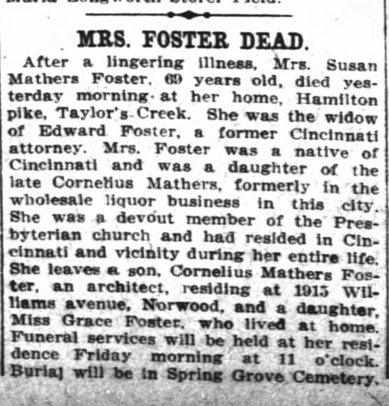 Susie Mathers Foster obit - . MRS. FOSTER DEAD. After a lingering illneaa....