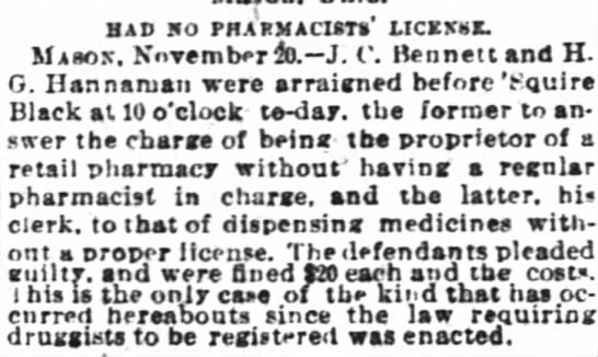 "John Calvin Bennett Arraigned. The Cincinnati Enquirer. 21 Nov 1891. - BAP 90 PHARMACISTS"" MCBXSK. Masoic. November..."