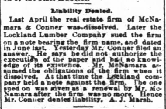 Liability denied -- A.J. Marsh