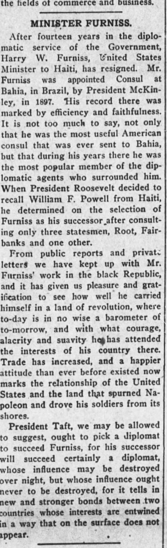 furniss nyage - the fields of commerce and business, MINISTER...