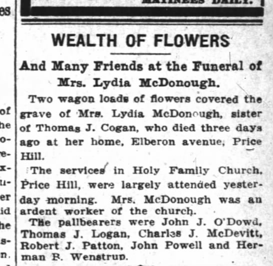 CJ McDevitt pallbearer 3Feb1914 - of nuu-dreds WEALTH OF FLOWERS ; I And Many...