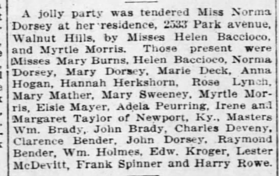 SocialNoteLesterMcDevitt8Nov1908 - A jolly party was tendered Miss Norma Dorsey at...