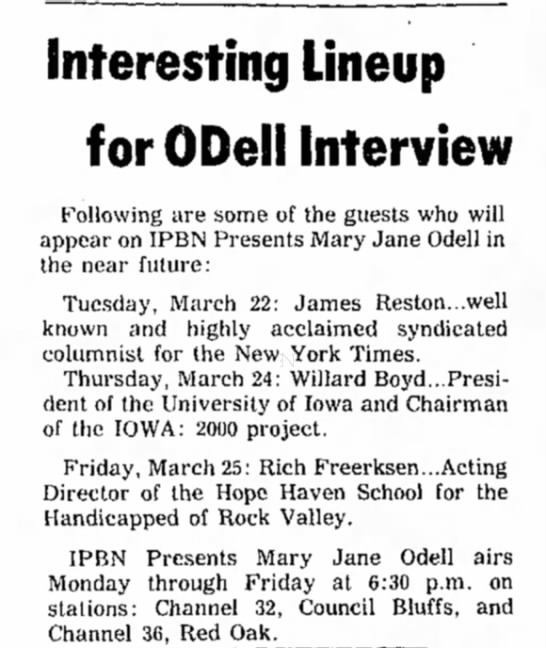 Forecast of Mary Jane Odell's show in the coming week.  - Interesting Lineup for ODell Interview...