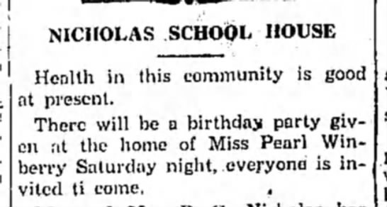 Winberry HS 15 Jan 1930 p6 - j ) | NICHOLAS SCHOOL HOUSE Health in this...
