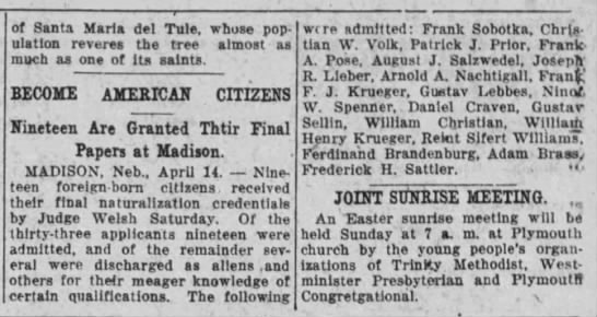 August Salzwedel - Nebraska State Journal - 15 Apr 1922, Page 5 - of Santa Maria del Tule, whose population...