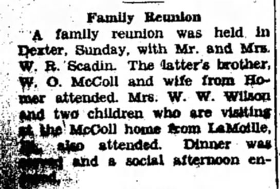 Marshall Evening Chronicle09 August 1938 - Family Reunion A family reunion was held in...