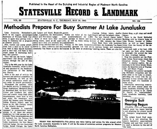Summer at Junaluska 1962 - In tht Heart of tht Dairying and Industrial...