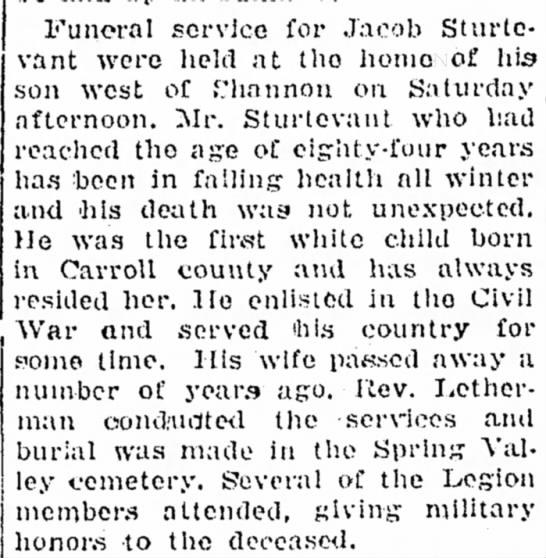 Jacob Sturtevant obit - Funeral service for Jacob Sturtevant Sturtevant...