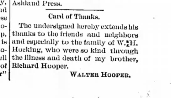 Richard hooper thanks - is of Ashland Press. Card of Thanks. The...