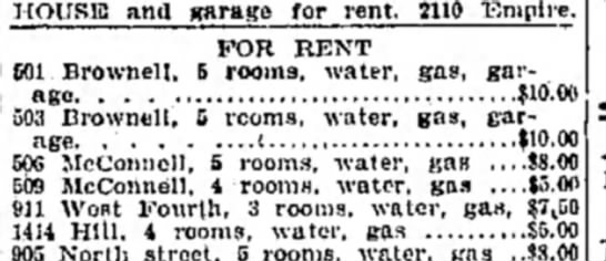 WOW! Look at the rent amount Joplin Globe 18 Feb 1921 - HOUSE and garage for rent. 2110 Empire. FOR...
