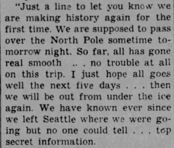 Excerpt from letter of Nautilus crewman James Irvin