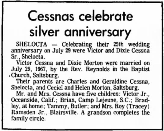 Victor Allen Cessna and Dixie Lee Morton Cessna Celebrate Silver Anniversary - Cessnas celebrate silver anniversary SHELOCTA —...