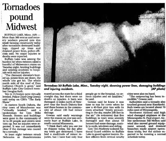 2003 Tornado Outbreak South Dakota - TMalmay - Tornadoes \ pound Midwest BUFFALO LAKE, Minn....