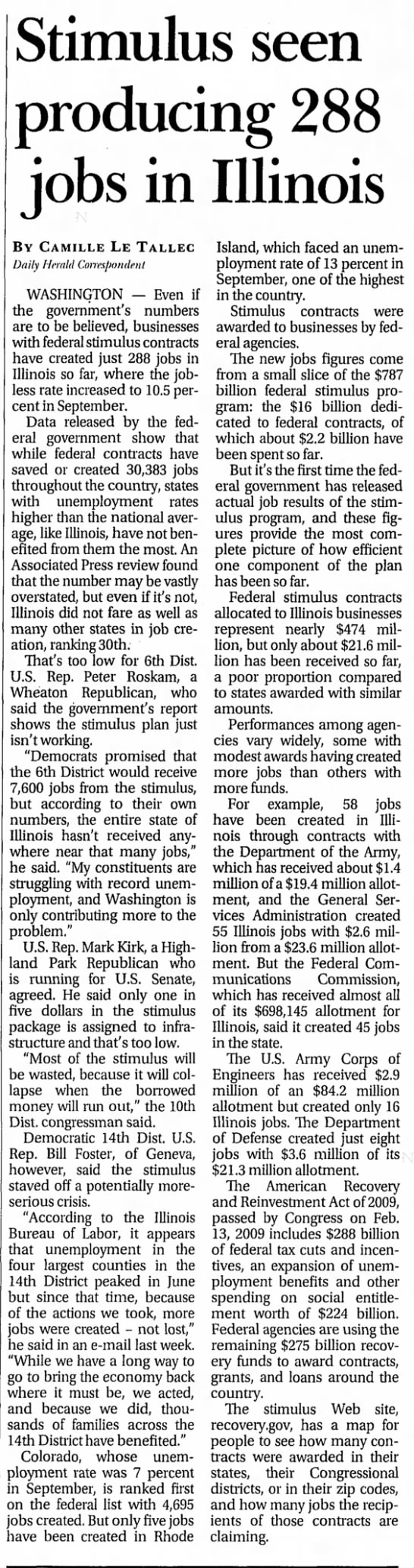 - Stimulus seen producing 288 jobs in Illinois BY...