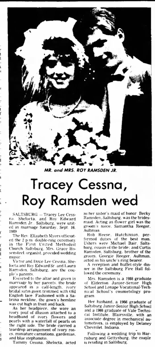Tracey Cessna and Roy Ramsden Wedding Announcemet - MR. and MRS. ROY RAMSDEN JR. Trace/ Cessna, Roy...