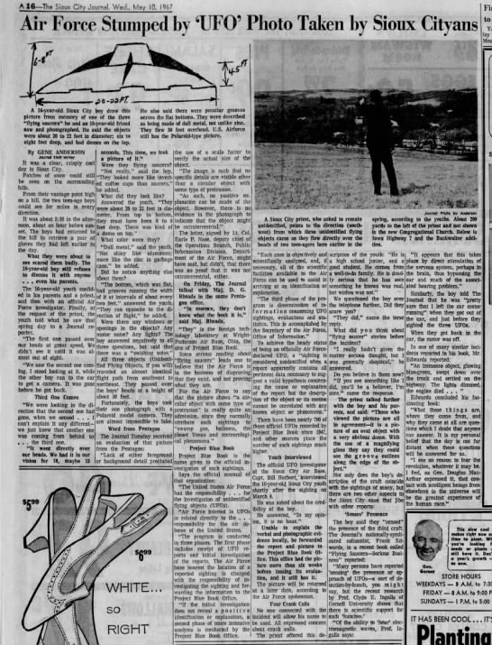 """Air Force Stumped by 'UFO' Photo Taken by Sioux Cityans"" - A 16 The Stoux City Journal, Wed., May 10, 1967..."