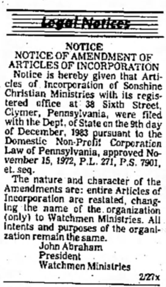 Incorporation June 19 1999 - NOTICE NOTICE OF AMENDMENT OF ARTICLES OF...