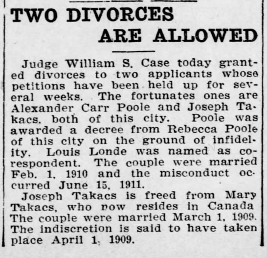 Joseph and Mary Takacs Divorce - TWO DIVORCES ARE ALLOWED Judge William S. Case...