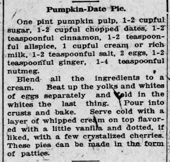 1916: Pumpkin-date pie