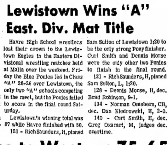 "- Lewistown Wins ""A"" East. Div. Mat Title at..."