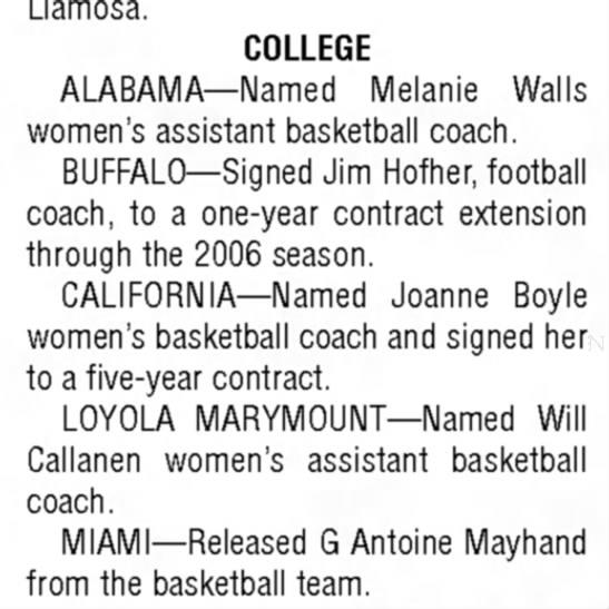 Will Callanen Indiana Gazette 14Apr78 - Llamosa. COLLEGE ALABAMA—Named Melanie Walls...