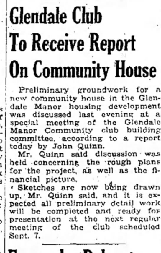Glendale report on housing project 1948 - Glendale Club To Receive Report On Community...