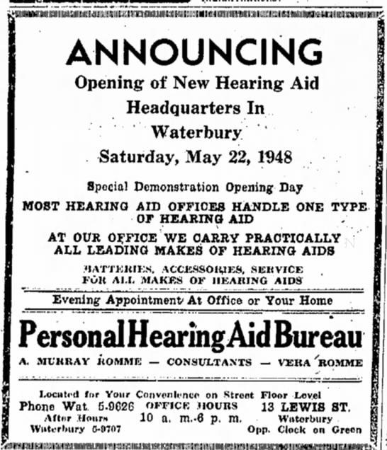"""12 Jun 1956 Naugatuck Daily News """"A. Murray Romme Hearing Aid Bureau"""" - uiiwiKiiiiiniiiiiin^^ ANNOUNCING Opening of New..."""