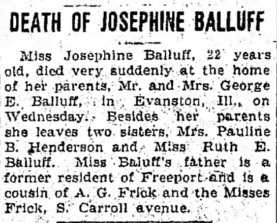 Freeport Journal-Standard, Freeport IL, 22 Sept. 1922, Josephine Balluff obit