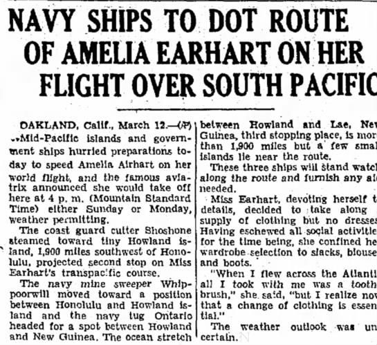 Amelia Earhart - NAVY SHIPS TO DOT ROUTE OF AMELIA EARHART ON...
