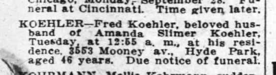 Koehler Obit - Funeral at Cincinnati. Time riven, later....