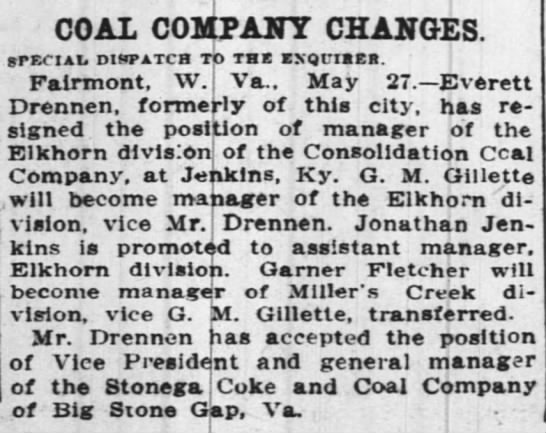 G.M. Gillette - COAL COMPANY CHANGES. SPeCIAI. DIOTATCH TO TBS...