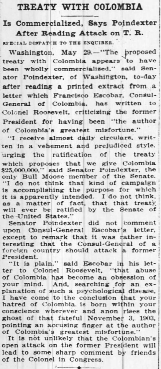 Treaty With Columbia - TREATY WITH COLOMBIA Is Commercialized, Says...