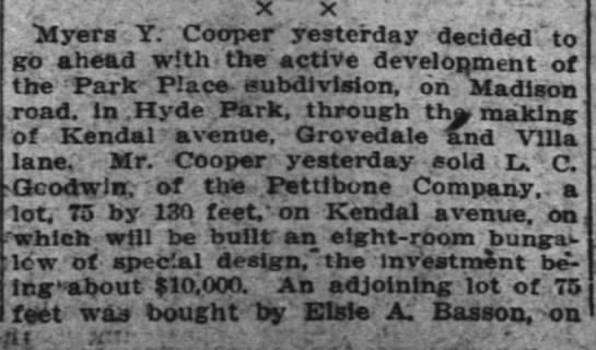 Elsie buys lot on Kendal Avenue, col 1, 31 May 1914 Enquirer - .. x x : - buyers ,Y: Cooper yesterday decided...