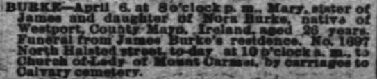 Burke in Chicago - BUaKK April 6. at Seclrk p. m, Mary, stater Of...