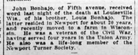 Louis (Lewis) Bonhajo death notice 7-1915 - John Bon ha Jo. of Fifth avenue. recelYe. word...