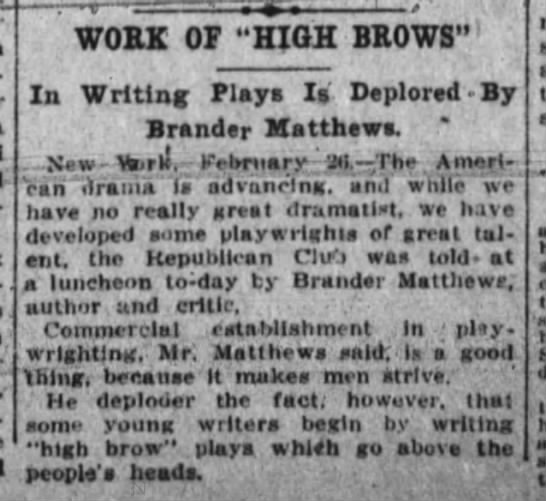 """Cincinnati Enquirer, 1/27/1916, p. 19 - WOBK OF """"HIGH BBOWS""""1 In Writing Plays I..."""
