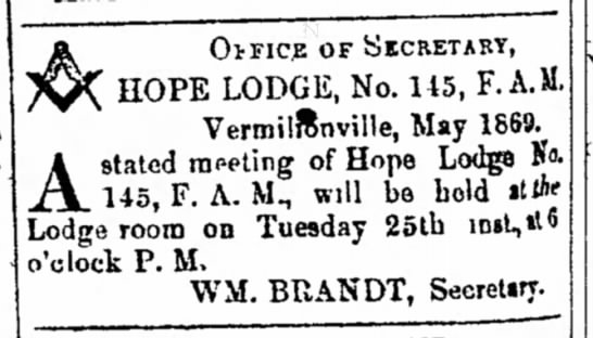 Hope Lodge notice 1869 - A OUTICE OF yiCRETASY, HOPE LODGE, No. 115, F....