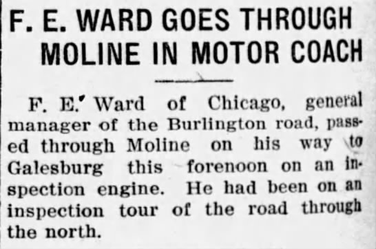 - F. E. WARD GOES THROUGH MOLINE IN MOTOR COACH...